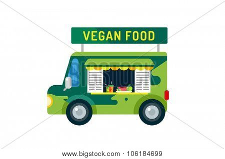 Vegan city food car van icon. Take out food. Nature product, vitamin symbol, auto restaurant, mobile kitchen, hot fastfood, green vegetables. Vegan food, nature products. Food market. Isolated on