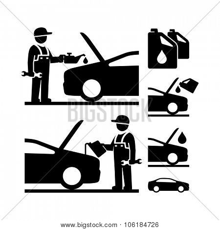Car Mechanic changing motor oil vector icon