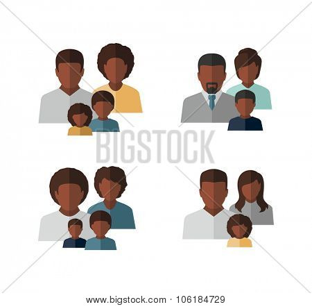 Vector Afro American Family Icons