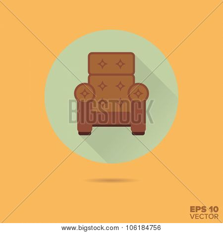 upholstered armchair flat design vector icon