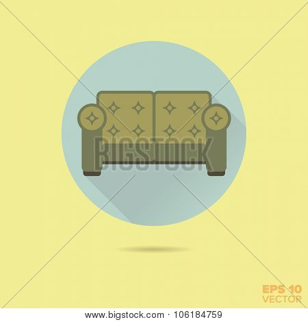 upholstered couch flat design vector icon
