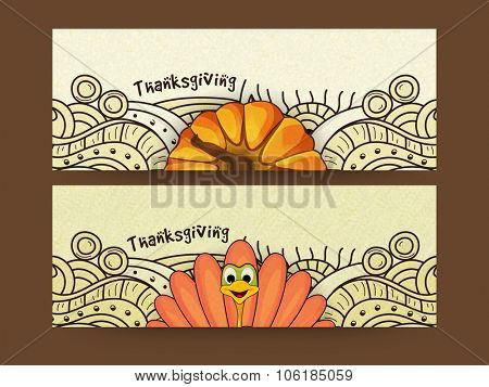 Floral decorated website header or banner set with Turkey Bird and pumpkin for Happy Thanksgiving Day celebration.