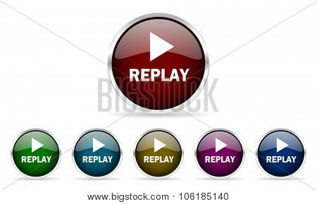 replay colorful glossy circle web icons set