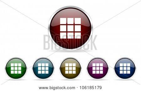 thumbnails grid colorful glossy circle web icons set