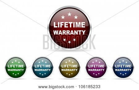lifetime warranty colorful glossy circle web icons set