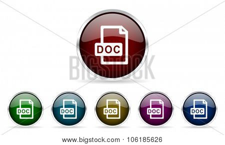 doc file colorful glossy circle web icons set