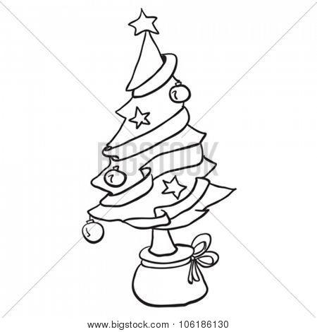 simple black and white christmas tree cartoon