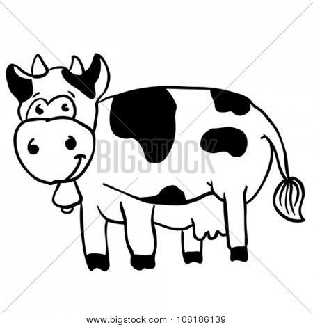 simple black and white cow cartoon