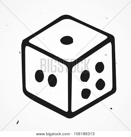 Vector Illustration Of Dices, Hand Drawn
