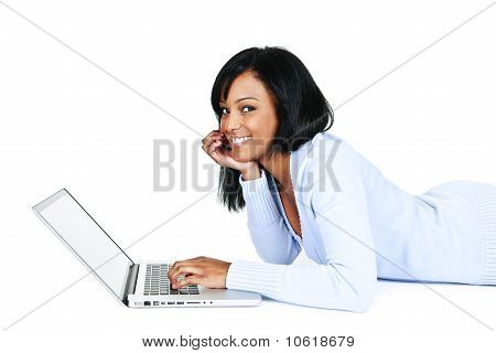Pretty Young Woman With Computer