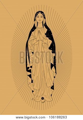 The Virgin Mary on a beige background