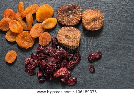 Various Dried Fruits: Apricots, Figs, Cranberries
