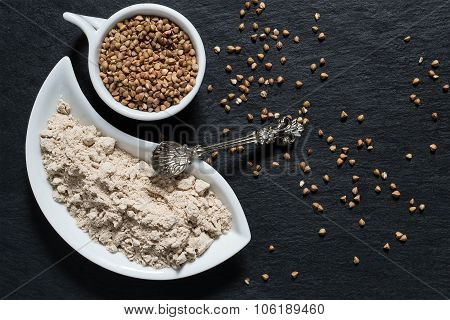 Buckwheat Groats And Flour On The Surface