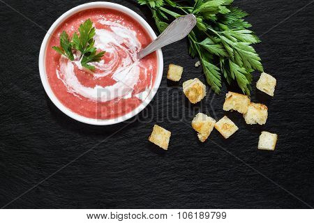 Vegetable Soup With Beetroot, Croutons And Parsley