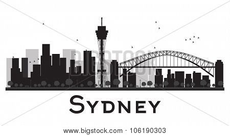 Sydney City skyline black and white silhouette. Vector illustration. Concept for tourism presentation, banner, placard or web site. Business travel concept. Cityscape with famous landmarks