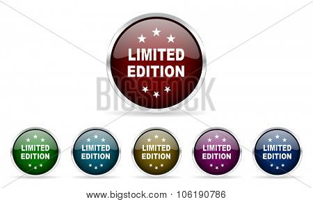 limited edition colorful glossy circle web icons set