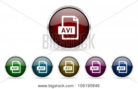 avi file colorful glossy circle web icons set
