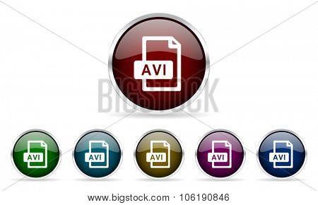 avi file colorful glossy circle web icons set