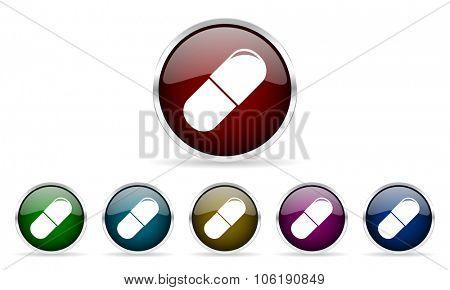 drugs colorful glossy circle web icons set