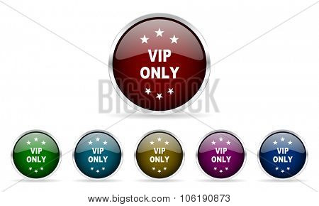 vip only colorful glossy circle web icons set