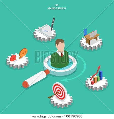 HR management flat isometric vector concept.
