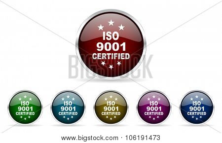 iso 9001 colorful glossy circle web icons set