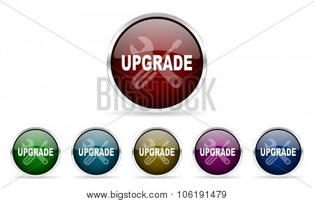 upgrade colorful glossy circle web icons set