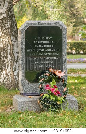 The Memorial Slab To The Victims Of An Air Attack By German Aircraft - Krasnoarmeisk Civilians Who D