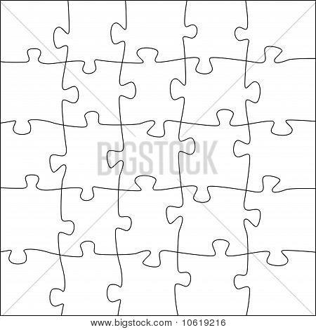 5X5 Jigsaw Puzzle Template - Irregular Pieces