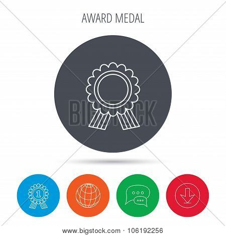 Award medal icon. Winner achievement sign.