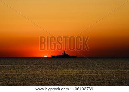 coast guard shit at sunset