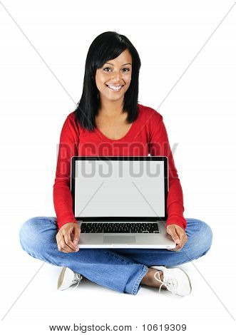 Young Woman Holding Laptop Computer