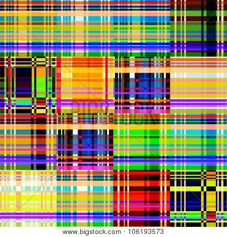 Abstract Color Background, Multicolored Geometric Lines And Squares, Vector Seamless Pattern