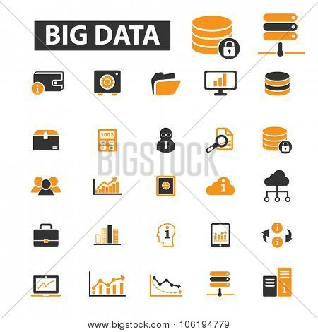 big data, analytics icon & sign concept vector set for infographics, website
