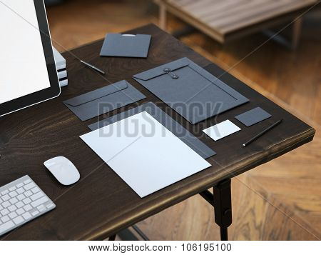 Workplace with stylish mockup. 3d rendering