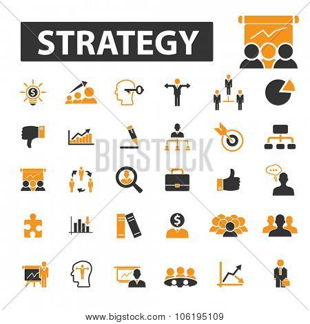 business strategy, goal, idea icon & sign concept vector set for infographics, website