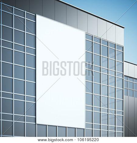 Blank billboard on the modern building. 3d rendering