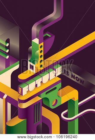 Futuristic background in color. Vector illustration.