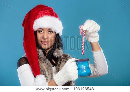 Winter Girl Santa Helper Hat Holds Blue Mug