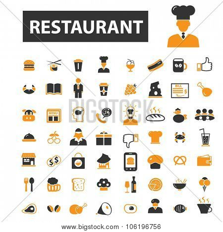 restaurant, cafe, pizza, burger, sushi, kitchen, menu icon & sign concept vector set for infographics, website