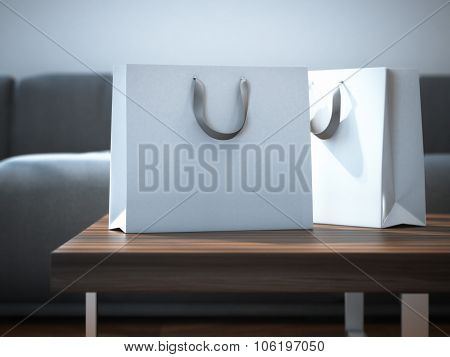 Ttwo white packages on table. 3d rendering