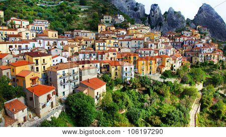 impressive village in mountains - Castelmezzano, Basilicata. Ital