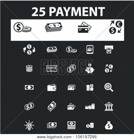 payment, money, cash, card icons, signs concept vector set for website, mobile, infographics