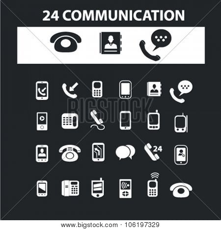 communication icons, signs concept vector set for website, mobile, infographics
