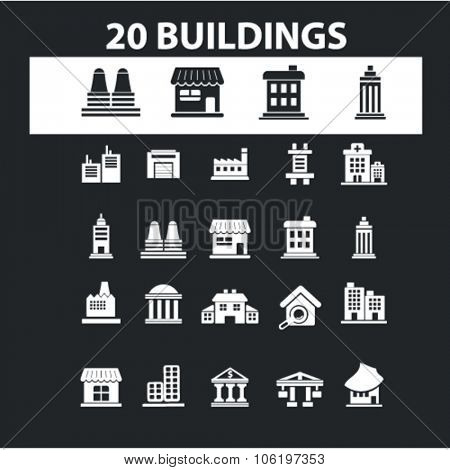 buildings, houses, urban city, factory, office icons, signs vector set for mobile, website, infographics