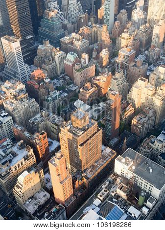 The urban landscape of midtown Manhattan in New York City