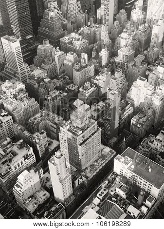 Black and white urban landscape of midtown Manhattan in New York City