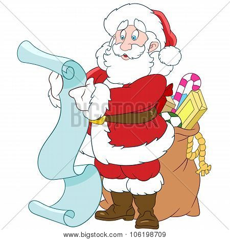 Santa Claus With A Scroll And Sack Of Gifts