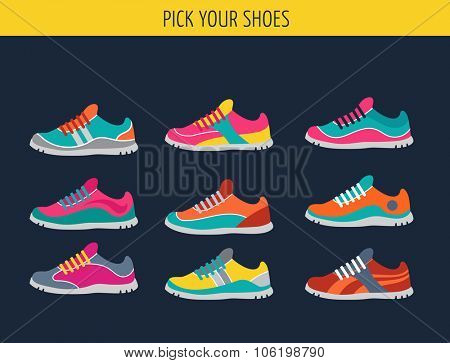 Vector running, sport and gym shoes