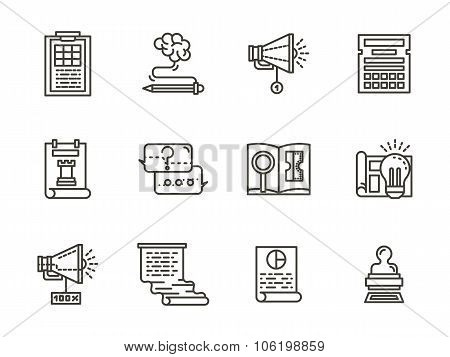 SMM flat line icons vector collection